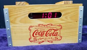 Coca-Cola Wood Crate Alarm Clock Radio AM/FM with Digital Display