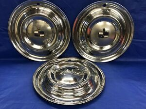 Very Rare Vintage Set Of 3 1951 Lincoln 15 Hubcaps Lido Good Condition