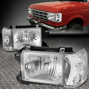 For 87 91 Ford F150 F250 Bronco Chrome Housing Clear Corner Headlight Head Lamps