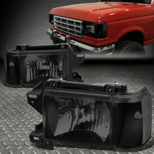 For 87 91 Ford F150 F250 Bronco Smoked Housing Clear Corner Headlight Head Lamps