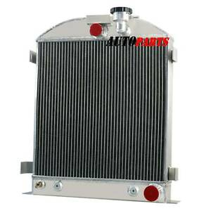 4 Row Aluminum Radiator Fits Chevy engine Ford grill shells 3 chopped 1932 1934