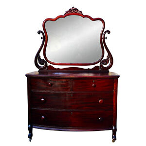 Antique Victorian Carved Mahogany Princess Mirrored Dresser