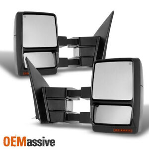 Fit 2004 2014 Ford F150 Power Heated Led Signal Puddle Tow Side Mirror Set
