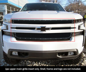 Fits 2019 2020 Chevy Silverado 1500 Upper Stainless Black Mesh Rivet Grille