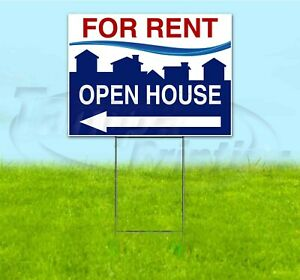 For Sale Open House Arrow 18x24 Yard Sign With Stake Corrugated Bandit Realty