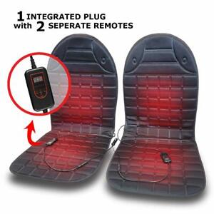 Vaygway Heated Car Seat Cushion 2 Pk With 1 Integrated Plug 12v Adjustable Tempe