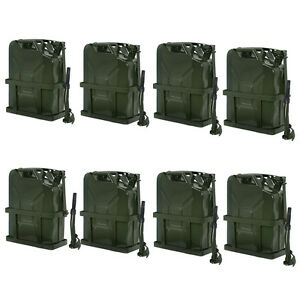 8x 5 Gallon Jerry Can Fuel Steel Tank 20l Storage Emergency Backup W Holder