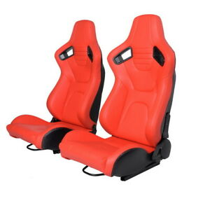 Universal 2pcs Car Racing Seats W 2pcs Sliders Pu Leather Full Wrap Sport Seats
