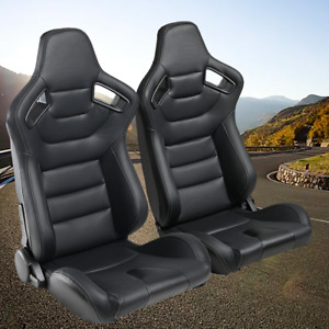 Pu Leather 2pcs Car Racing Seats Sport Full Wraped Reclinable Bucket 2 Slides