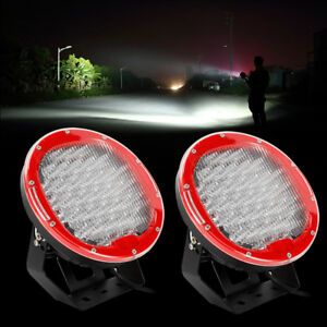 9inch 370w Red Led Round Work Lights Flood Beam Driving Head Light Off Road Suv