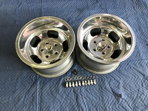 Vintage Pair 15x10 Us Indy Mag Style Polished 5on5 Chevy C 10 Truck Blazer Sub