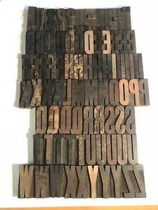 Letterpress Wood Type Printing Blocks 3 3 8 Inches Tall 112 Pieces Antique Vtg