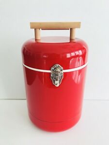 Red COCA-COLA? (Blank) Vtg 1960s Round Metal Canister Ice Bucket Thermal Cooler