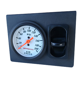 White Single Needle Air Gauge Panel 1 Paddle Switch Control Air Ride 200 Psi
