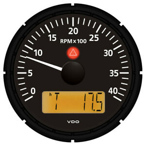Vdo Viewline Onyx 4 000 Rpm 3 3 8 85mm Marine Tachometer W 2 Hourmeters C