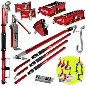 Pro Drywall Taping Finishing Set W Auto Taper Extendable Handles Level 5