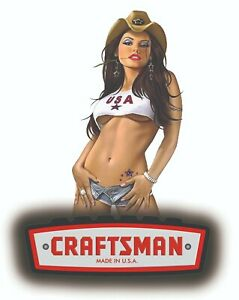 Craftsman Tool Sticker Rock Hard Girl Sexy Decal Mechanic Toolbox Sign Chest Usa