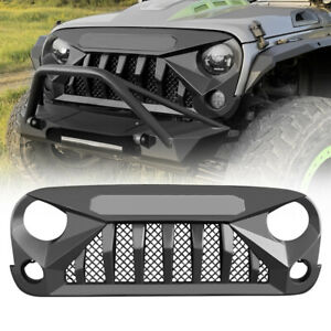 Matte Black Front Mars Grille Grill With Mesh Insert For 07 18 Jeep Wrangler Jk