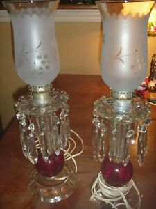 Vintage Set Of Two Red Glass Hurricane Lamps With Hanging Prims