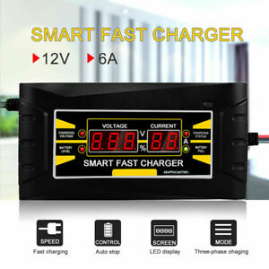 12v 10a 6a Auto Fast Smart Lead acid Gel Battery Charger For Car Motorcycle Lcd