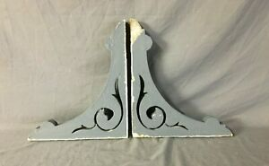 Pair Antique Wood Corbels Porch Brackets Shabby Vintage Old Chic 96 19b