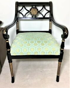Black Lacquer Regency Chair Historic Charleston Collection By Baker Furniture