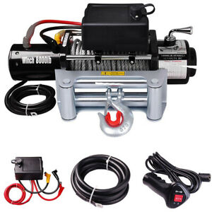 8000lb 12v Recovery Truck Trailer Atv Suv Winch 5 5hp Electric Towing Mount Us