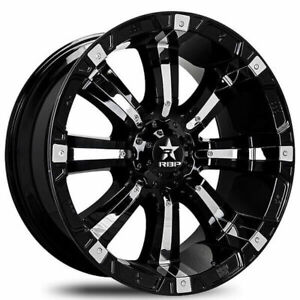 4 17 Rbp Wheels 94r Black With Chrome Inserts Off Road Rims b5
