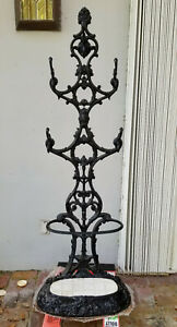 Large Antique C 1890 S Wrought Iron Cast Iron Hall Tree Coat Stand 69