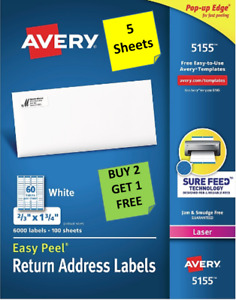 5 Sheets Avery 5155 5195 Return Address Labels White 2 3 X 1 3 4 Laser B2g1