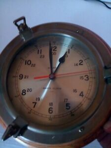 Ship S Clock Bell Clock Co Quartz Brass Oak Usa