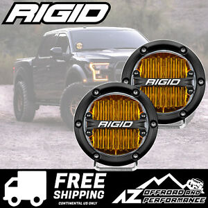 Rigid Industries 360 Series 4 In Round Led Light Bar Amber Sae Flood Pair 36111