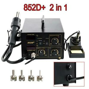 852d 2in1 Soldering Rework Stations Smd Hot Air Iron Gun 110v Portable Black