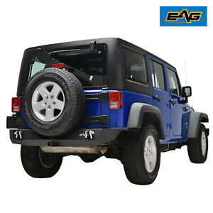Eag Fit For 07 18 Jeep Wrangler Jk Rear Bumper Guard With 2 Hitch Receiver