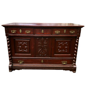 Antique English Barley Twist Victorian Carved Oak Sideboard Buffet Server