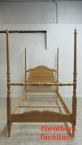 Vintage Ethan Allen French Country Bisque Twin Size Poster Canopy Bed Headboard