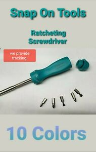 New Snap On Ratcheting Hard Handled Screwdriver 8 31 32 Long 5 Bits 11 Colors