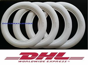 Custom West Style 15 Wide White Band Port a wall Tyre Insert Set Hot Rod 360