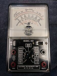 Vtg Emc Model 102 Vacuum Tube Volt Ohm Meter Tester In Box Leads Warranty Manual
