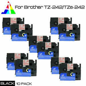 Tz242 Tze 242 Red On White Label Tape Compatible For Brother P touch 18mm