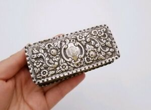 Large English British Victorian Antique George Nathan Silver Repousse Snuff Box