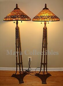 Rare Vintage Tiffany Style Stained Glass Tripod Form Floor Lamp Quoizel Shades