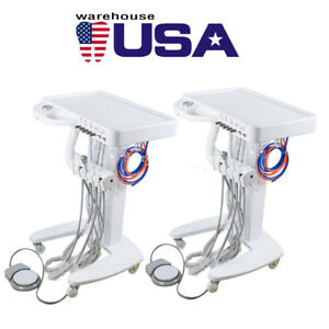 Us 2 Mobile Dental Delivery Unit Cart Equipment 4 Hole 3 Way Syringe Compressor