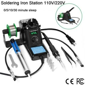 Rework Soldering Iron Station Kit Esd Smd Diy Welder Wire Sponge Tips 110v 220v