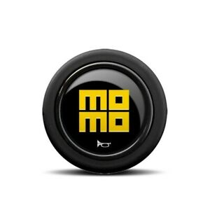 New Momo Horn Button Heritage Polished Black With Yellow Momo Heritage Logo