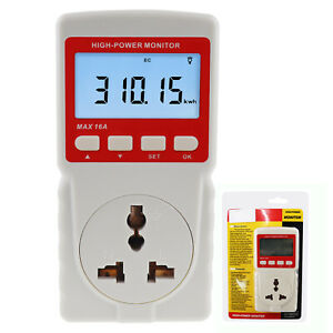 Electricity Power Meter Monitor Consumption Electrical Watt Voltage Measuring