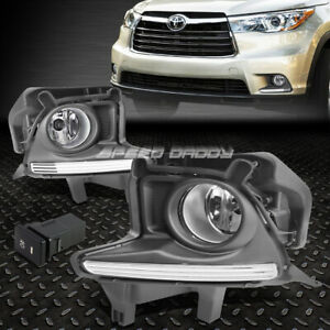 For 14 16 Toyota Highlander Front Bumper Fog Light Lamps W bezel Cover switch