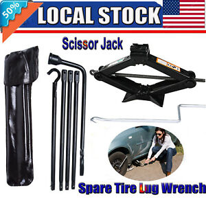 For Dodge Ram 1500 Spare Tire Lug Wrench Repair Tool Kit W 2 Tonne Scissor Jack