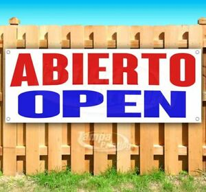 Abierto Open Advertising Vinyl Banner Flag Sign Many Sizes Available Usa Spanish