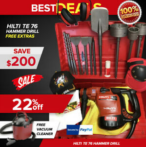 Hilti Te 76 Hammer Drill Preowned Free Vacuum Cleaner Chisels Bits Extras